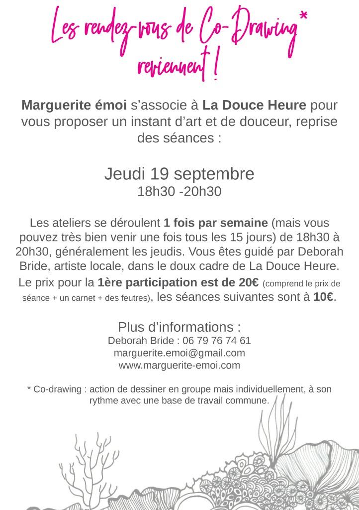 Flyers atelier dessin adulte à La Douce Heure, Lons-le-Saunier, Jura.